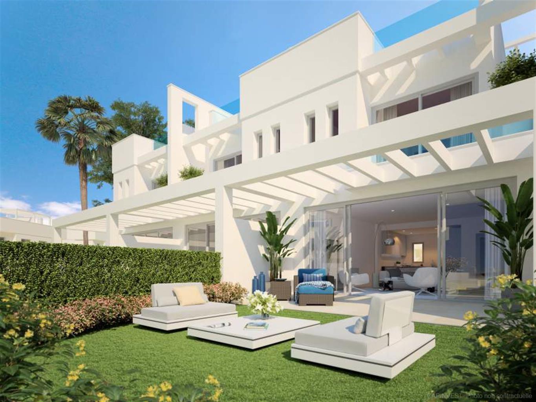 Nouveau projet de 48 villas jumelées modernes et luxueuses. Trois chambres, 4 étages, plusieurs places de parking, piscine commune et salle de sport.