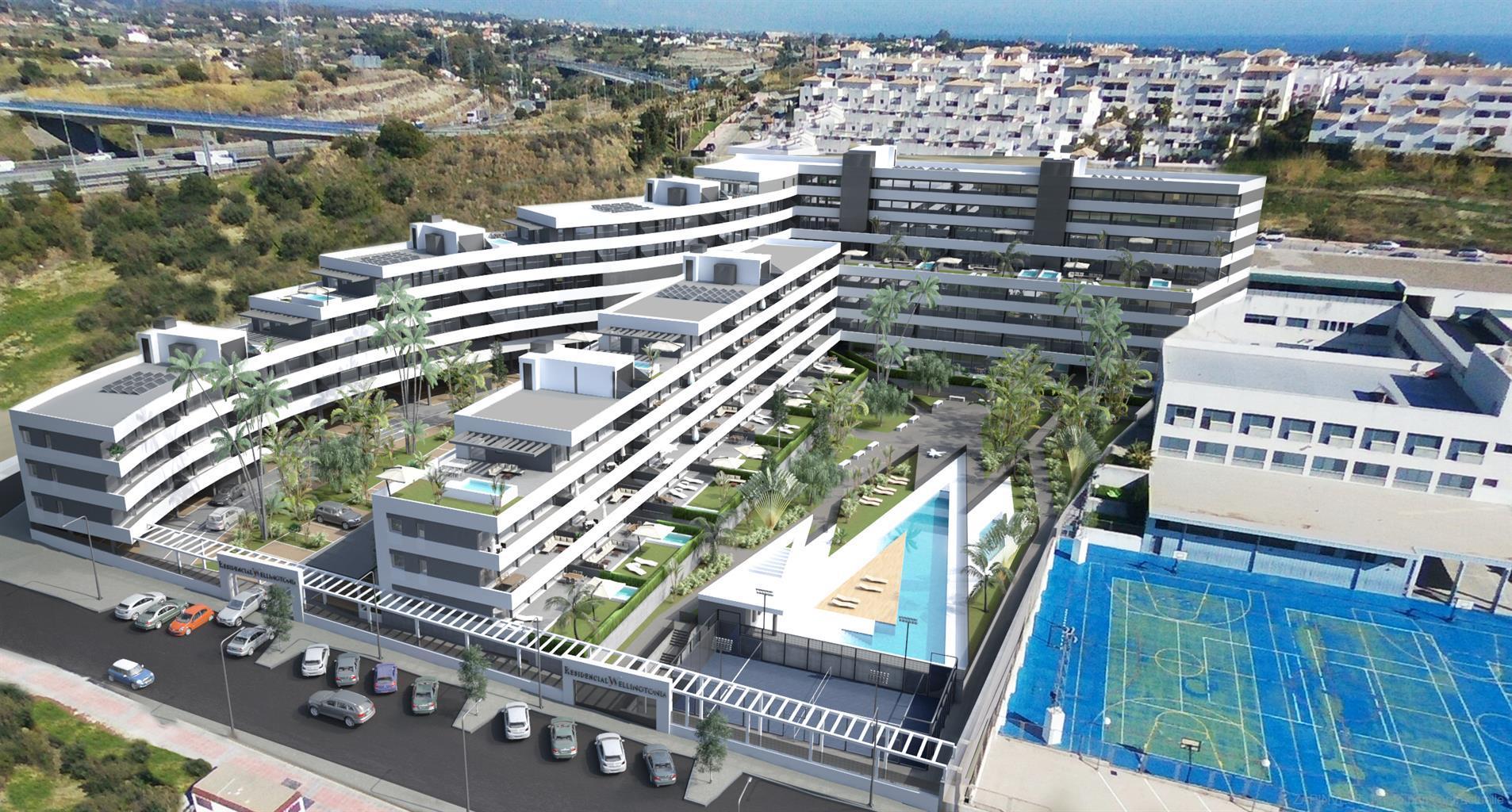 110 appartements d'une à quatre chambres, piscine commune, piste de padel-tennis, en plein coeur d'Estepona, à proximité des écoles, centre de santé, supermarchés.
