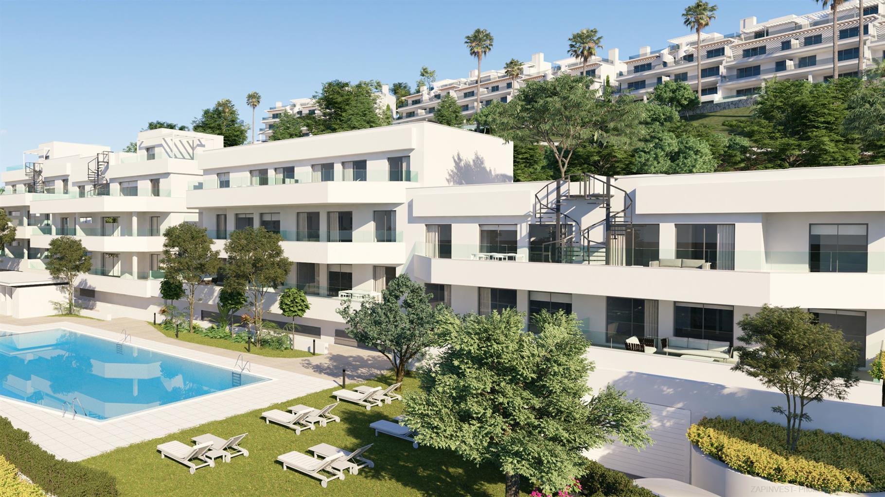 Nouvelle promotion de style innovent et contemporain, avec vue mer, à seulement 10 minutes d'Estepona, avec piscine commune et près du golf.