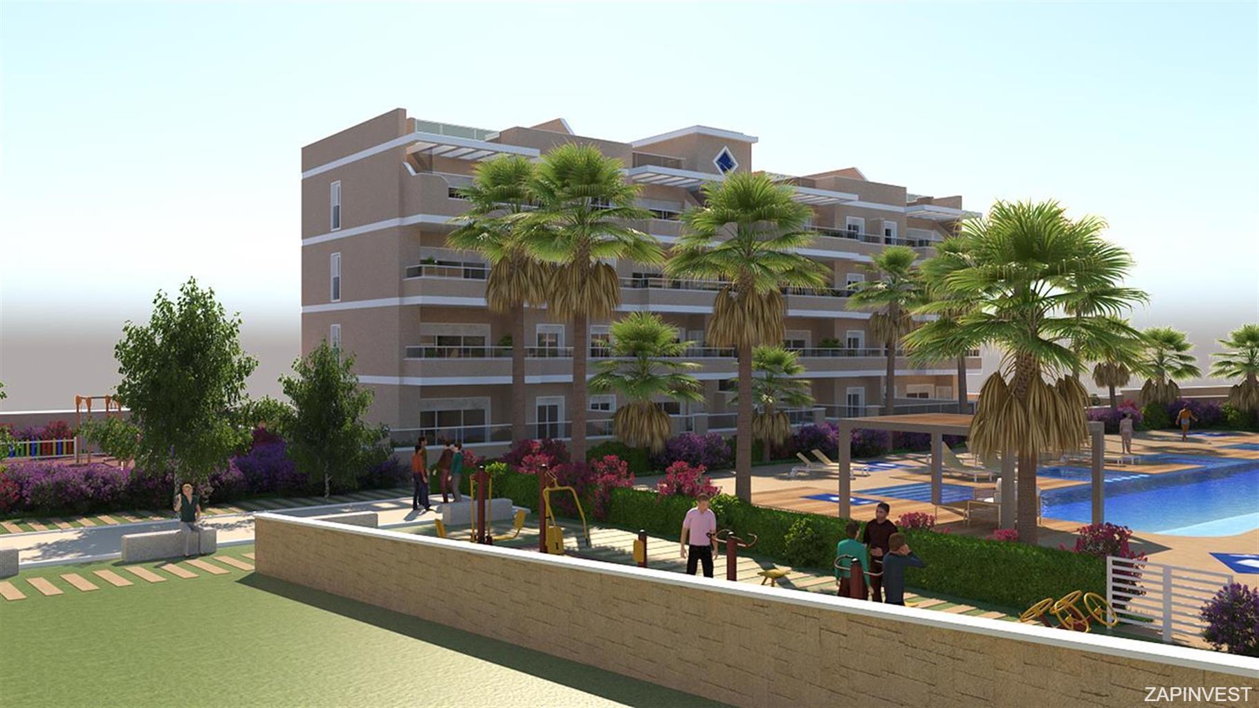 Appartement 3 chambres avec piscine commune, aire de jeux pour enfants et zone d´exercices à l´extérieur.