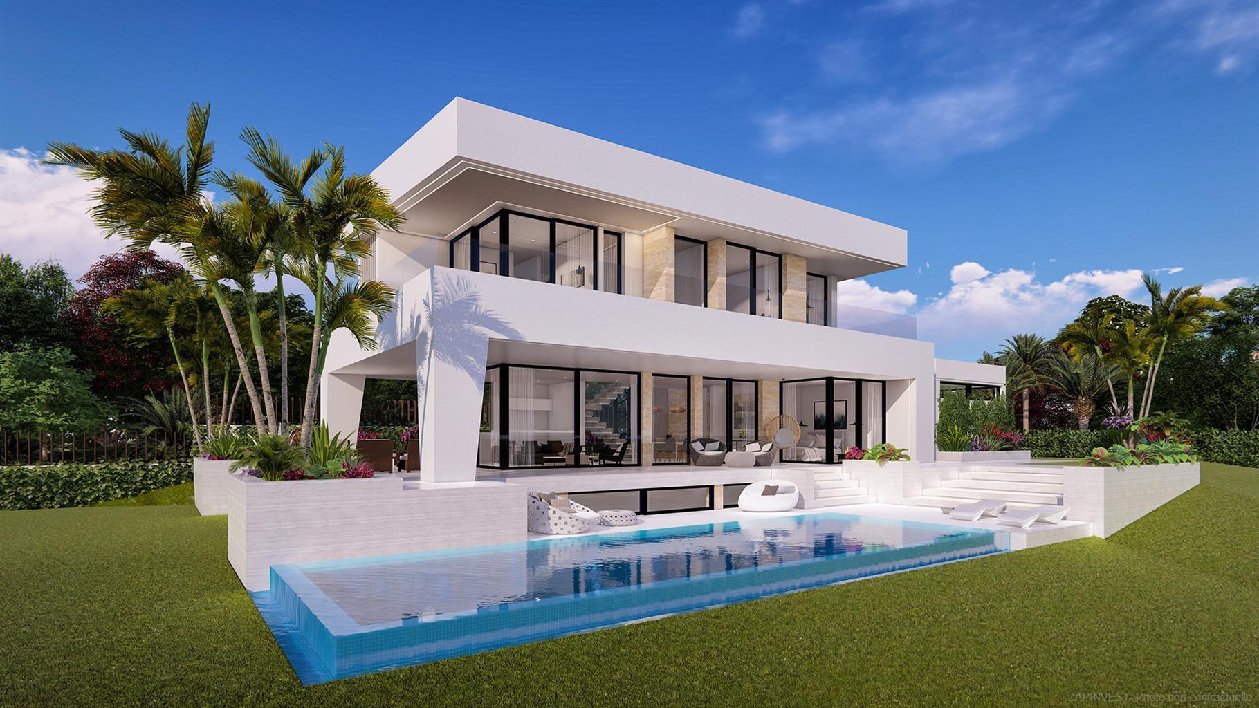 Villa avec design unique, grande piscine privée, superbes vues sur la mer et la montagne, à proximité des plages, restaurants et terrains de golf.